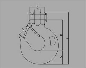 G70 US TYPE CLEVIS SLIP HOOK WITH LATCH